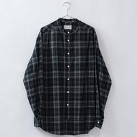five tuck band collar shirts-BLACK