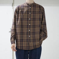 five tuck band collar shirts-BROWN
