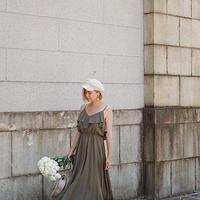 PEARL SHOULDER FLARE DRESS【LH21S012】