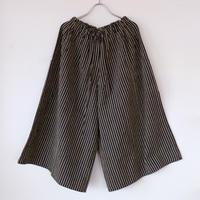 YAMMA   会津木綿キュロット ロング丈  棒縞