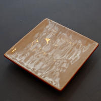 秦 隆吉 角豆皿 鍚彩 白漆
