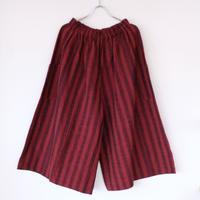YAMMA   会津木綿キュロット ロング丈   おさむ縞 赤紫
