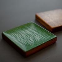 秦 隆吉 角小皿 緑