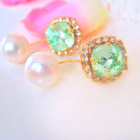 Lime and Pearl bijou Pierce and earring