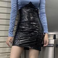BO27 leather  tight skirt