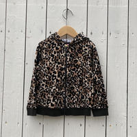 kids leopard zip up parka(18-24M/85-90cm)