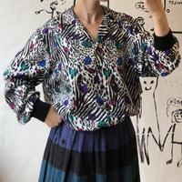 lady's animal×dot  pattern tops