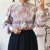 lady's pastel plaid pattern western shirt