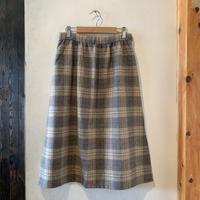 lady's plaid wool skirt -beige-