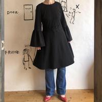 lady's flare sleeve black one-piece