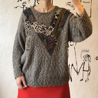lady's brown color design knit tops