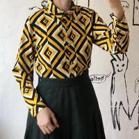 lady's geometric pattern rétro blouse