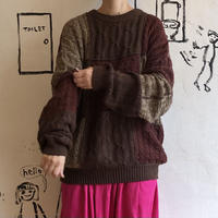 lady's brown switching cotton knit tops