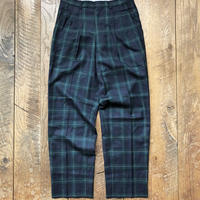 Men's check tuck wide trousers(W30inch)