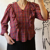 lady's plaid pattern frill&puff sleeve design blouse