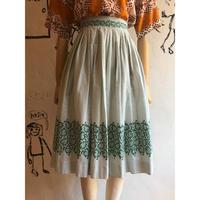 lady's 1950's vintage plaid × botanical pattern flare skirt