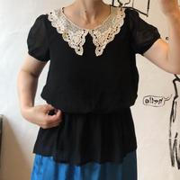 lady's lace collar chiffon tops