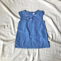 kids embroidery denim onepiece(3T/95〜100cm)