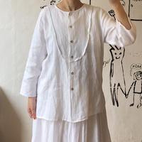 lady's no collar linen blouse