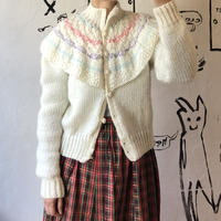 lady's ruffle collar knit cardigan