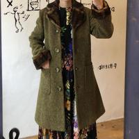 lady's tweed× fur coat