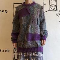 lady's gray × purple sweater