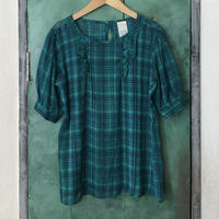 lady's plaid pattern sheer tops