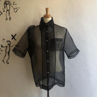 lady's frill design black color sheer blouse