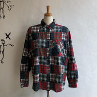 lady's check pattern patchwork shirt
