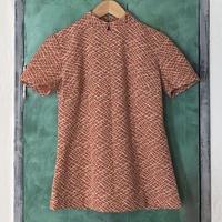 lady's 1970's mao collar Jacquard fabric tops