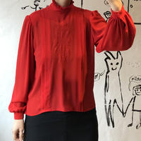 lady's red color frill & tuck blouse
