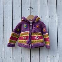 kids knit zip up parka(12M/80cm)