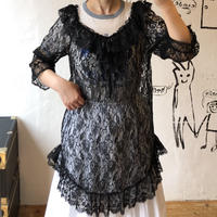lady's black lace tunic tops