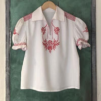 lady's embroidered puff sleeve tops
