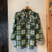 lady's frill & plaid  sheer bloues