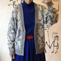 lady's gray color knit cardigan