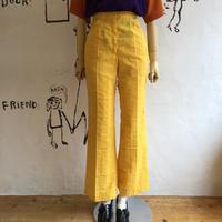lady's 1970'vintage yellow color seersucker flare pants
