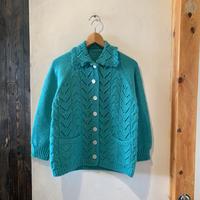 lady's handmade green knit cardigan