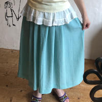 lady's seersucker aqua green skirt