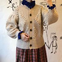 lady's volume sleeve knit cardigan