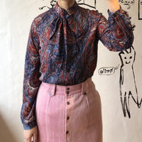 lady's paisley pattern bow tie blouse