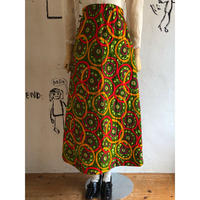 lady's 1970's vintage  floral pattern quilting maxi length skirt