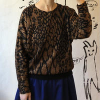 lady's animal pattern glitter knit tops