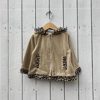 kids leopard zip up parka(2T/90cm)