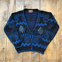 Men's 1980s CHARTWELL leather patch knit cardigan(Men's 2XL)