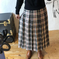 lady's floral pattern × plaid pattern pleats skirt