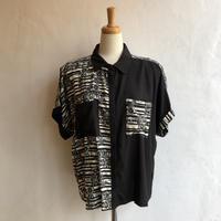 lady's floral&line  pattern blouse