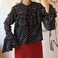 lady's dot&cherry  pattern frill design tops