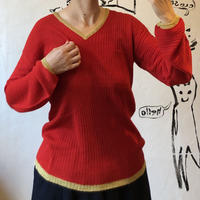 lady's red&gold knit tops