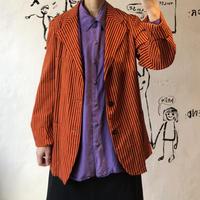 lady's orange color stripe pattern jacket